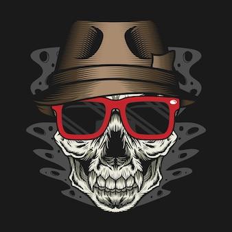 Tête de crâne avec chapeau et lunettes rouges concept de design détaillé