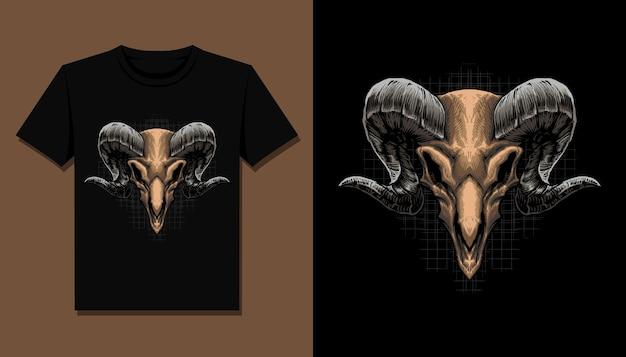Tête de crâne de chèvre pour la conception de t-shirt
