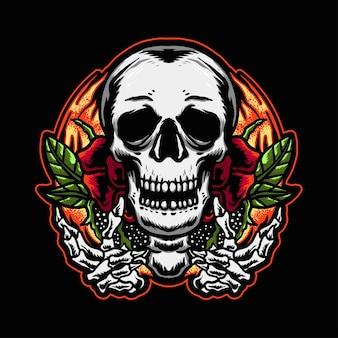 Tête de crâne avec conception de t-shirt de conception de tatouage de feuille