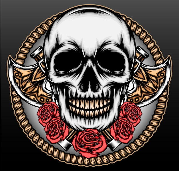 Tête de crâne cool avec hache isolée sur fond noir