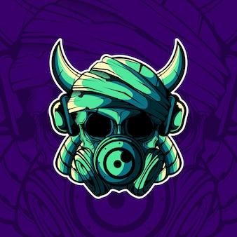 Tête de crâne avec corne et illustration vectorielle de masque à gaz
