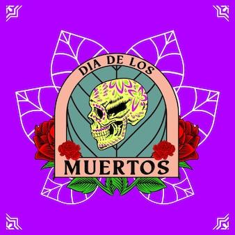 Tête de crâne décorative côté jour des morts mexique illustration