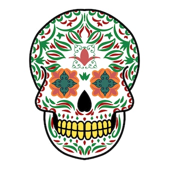 Tête de crâne décorative jour des morts mexique illustration