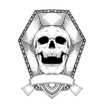 Tête de crâne dessiné à la main de conception de tatouage dans l'art de ligne de cercueil noir et blanc d'isolement
