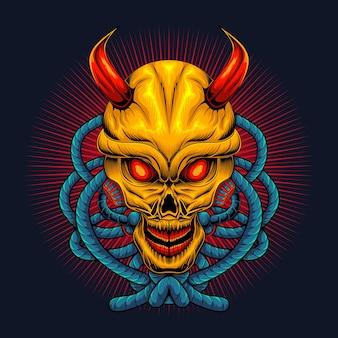 Tête de crâne de diable effrayant avec corde