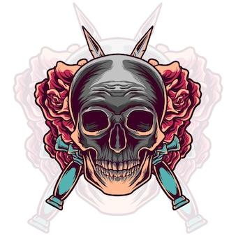 Tête de crâne avec épée et rose
