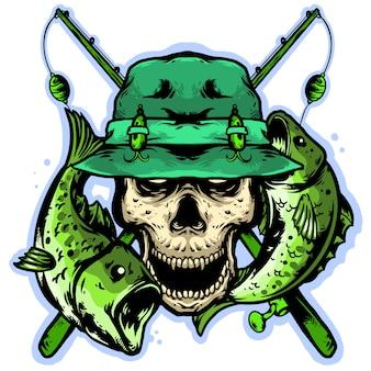 Tête de crâne avec équipement de pêche et saumons