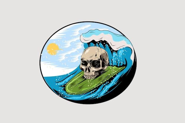 Tête, crâne, été, dans, plage, main, dessin, illustration