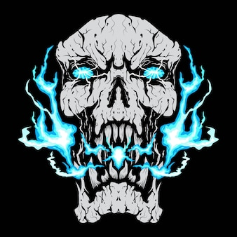 Tête de crâne de feu bleu isolé sur fond noir