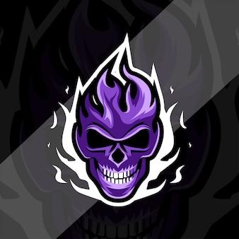 Tête crâne feu mascotte logo esport design