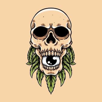 Tête de crâne et feuilles de cannabis