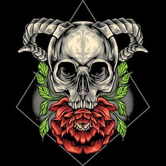 La tête de crâne et la fleur