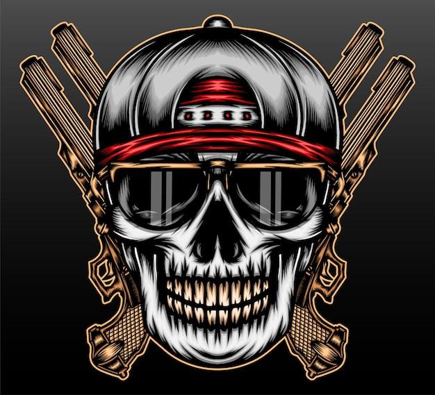 Tête de crâne de gangster isolée sur fond noir