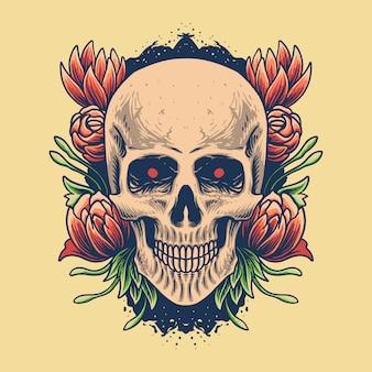 Tête de crâne avec illustration rose