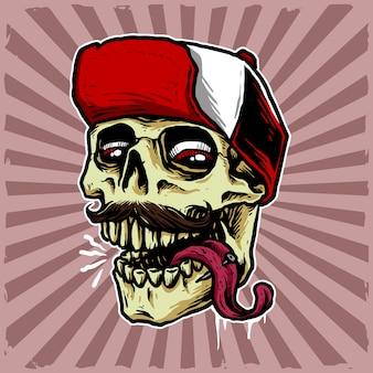 Tête de crâne avec illustration snap back