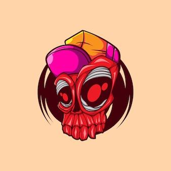Tête de crâne avec l'illustration vectorielle de chapeau