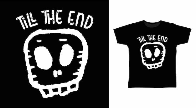 Tête crâne main dessin art t shirt design
