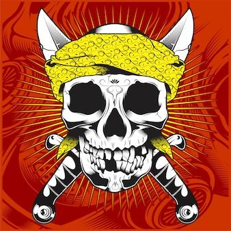 Tête, crâne, porter, bandana, et, croix-épée-vecteur