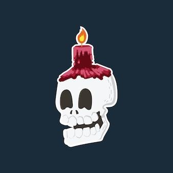 Tête de crâne rire dessin animé dessiné à la main avec une bougie rouge