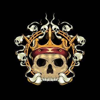 Tête de crâne de roi et illustration d'anneau