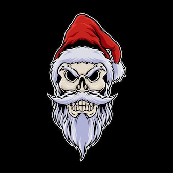 Tête de crâne santa concept wearing christmas hat illustration