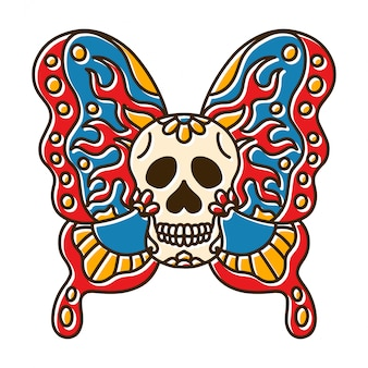 Tête de crâne tatouage de papillon