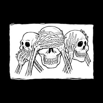 Tête de crâne trois sage