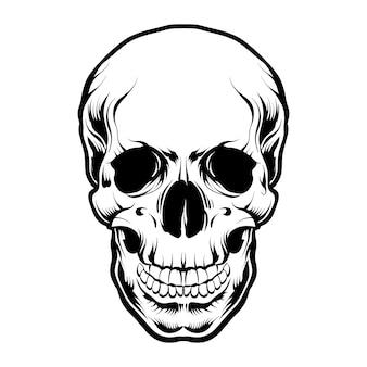 Tête de crâne vecteur noir et blanc isolé
