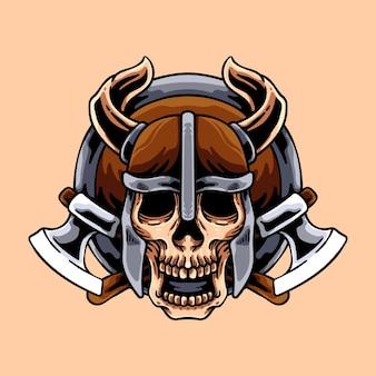 Tête de crâne viking avec haches