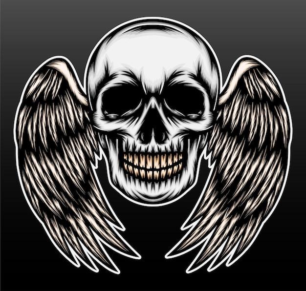 Tête de crâne vintage avec aile.