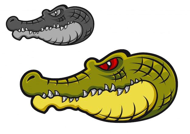 Tête de crocodile danger en dessin animé pour la conception d'un tatouage ou d'une mascotte