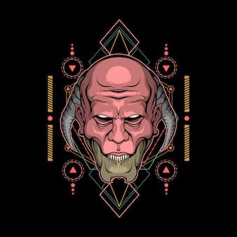 Tête de démon géométrie sacrée