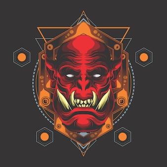 Tête de démon rouge géométrie sacrée