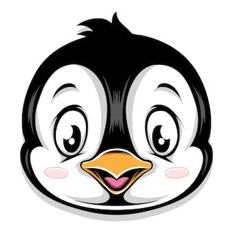 Tête de dessin animé mignon de pingouin