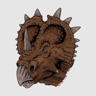 Tête de dessin mascotte triceratops, illustrasion