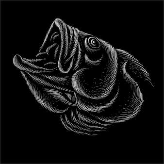 La tête dessinant le poisson