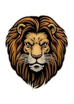 Tête dessinée à la main de lion en colère