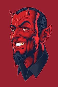 Tête De Diable Dans Un Style Bande Dessinée Vecteur Premium