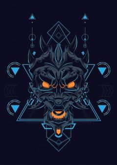 Tête diable géométrie sacrée