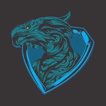 Tête de dragon bleu