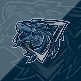 Tête de dragon de conception de logo e-sport