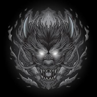 Tête de dragon avec feu monochrome main dessin illustration modèle noir blanc