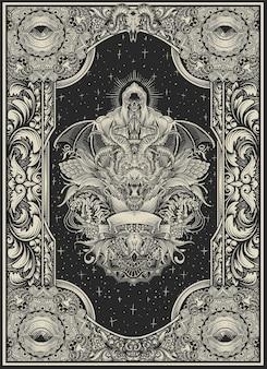 Tête de dragon d'illustration avec l'ornement de gravure antique