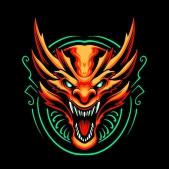 Tête de dragon rouge isolée sur fond noir
