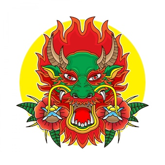 Tête de dragon tatouage old school