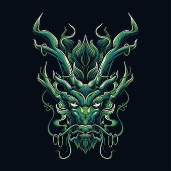Tête de dragon vert