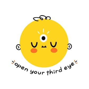 Tête drôle mignonne avec le troisième oeil. ouvrez votre slogan du troisième œil. conception d'illustration de dessin animé dessinés à la main de vecteur. isolé sur fond blanc. concept ouvert mystique, magique et spirituel