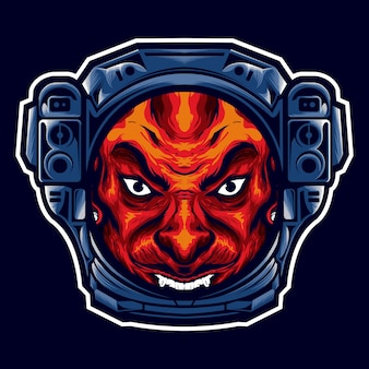 La tête du diable avec le casque d'un astronaute