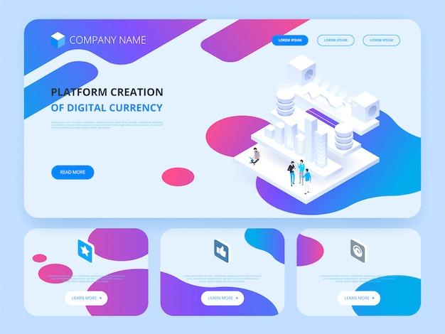 En-tête du site web. crypto-monnaie et blockchain.