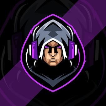 Tête effrayante mascotte logo esport gamers design